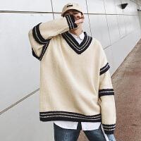 2018秋冬季学院风V领针织衫男士青年套头宽松毛衣潮流韩版毛线衣