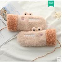 冬天加厚加绒骑车防寒保暖可爱卡通韩版秋冬季女孩学生毛绒棉手套