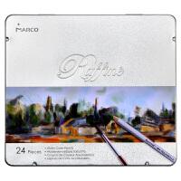 马可(Marco)7120-24TN Raffine系列 水溶性24色彩色铅笔/填色笔/彩铅 铁盒装