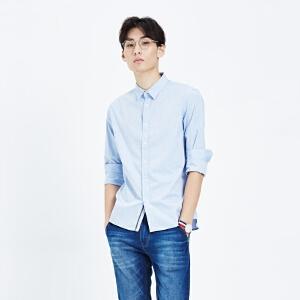 美特斯邦威男衬衫常年款男基本水洗牛津纺长袖衬衫722034