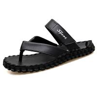 夏天人字拖男时尚外穿个性防滑真皮室外夹脚凉鞋潮流韩版夏季拖鞋