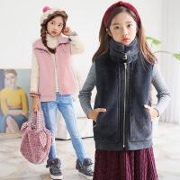 韩版童装时尚皮草马甲翻领百搭童马甲外套亲子装