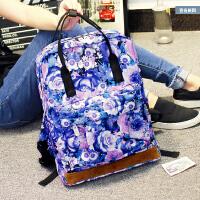 包包新款印花双肩包女韩版潮休闲背包中学生书包学院风旅行包