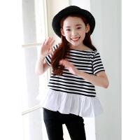 韩版童装夏装新品女童条纹上衣荷叶边中大童纯棉短袖T恤衫