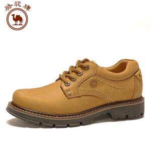 骆驼牌男鞋 新品 户外休闲工装鞋男士系带圆头皮鞋舒适低帮