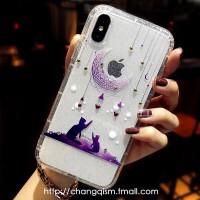 韩国镶钻唯美 苹果Xs手机壳iphoneXr保护套xs max硅胶防摔6.5蝴蝶 苹果Xs 深夜的猫 5.8寸