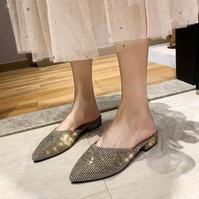 凉拖鞋女2019新款韩版秋季尖头拖鞋女外穿亮片时尚包头半拖鞋女