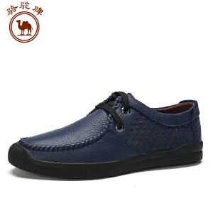 骆驼牌 秋季休闲男士皮鞋 圆头系带低帮舒适耐磨皮鞋