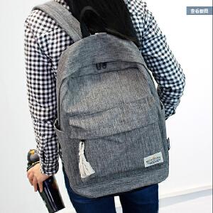 纯色简约双肩包女韩版书包中学生女学院风旅行背包男电脑包休闲包