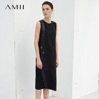 【会员节! 每满100减50】Amii[极简主义]夏装2017新款缎带拼接丝质黑色无袖连衣裙11783421