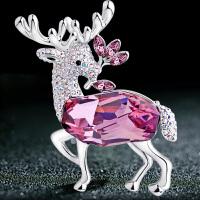 元素水晶胸针女配饰圣诞麋鹿胸花
