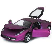 1:32仿真458合金车模型带灯光音乐开门独立盒装 儿童玩具