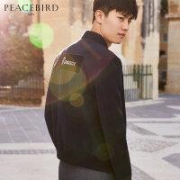 【199元任意2件专区】太平鸟男装 新款外套丝绒贴布夹克韩版修身夹克衫茄克