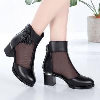 夏季凉鞋网靴女凉靴中跟鱼嘴镂空包头高跟粗跟中年短靴单靴子