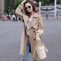 风衣女中长款2019春秋韩版宽松修身型休闲时尚小个子长袖双排扣外套