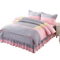 床上四件套床单被套欧式简约大气素色双人公主风纯色全棉纯棉床裙