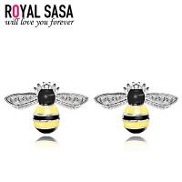 皇家莎莎S925银耳钉女气质简约个性蜜蜂日韩国版耳环耳坠耳饰品