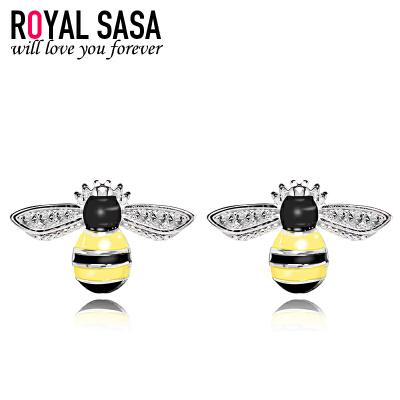 皇家莎莎S925银耳钉女气质简约个性蜜蜂日韩国版耳环耳坠耳饰品 秋冬上新