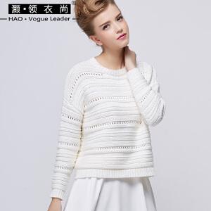 条纹韩版套头衫长袖秋冬螺纹镂空百搭针织衫女套头短款毛衣上衣