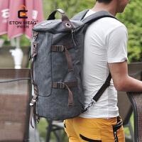 旅行包双肩背手提型男韩版户外旅行背包帆布男士背包大容量圆桶包学生双肩背包 灰色 加厚帆布