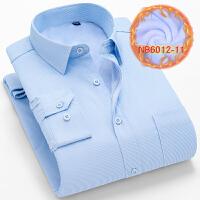 中老年男士保暖衬衫男冬季加厚加绒爸爸装衬衣父亲老年蓝条纹上衣