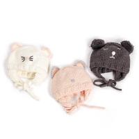 女宝宝毛线帽子秋冬季婴儿护耳帽小女孩公主套头帽