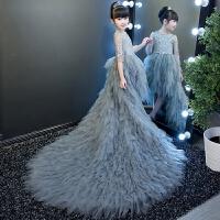 灰色儿童拖尾羽翼长袖儿童公主裙梯台走秀演出礼服女童礼服裙拖尾