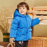moomoo童装男童羽绒服冬装新款可爱企鹅时尚小宝宝不规则口袋外套