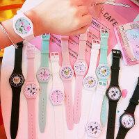 韩版新款硅胶糖果色少女粉嫩简约儿童手表 软萌妹学生休闲创意卡通腕表