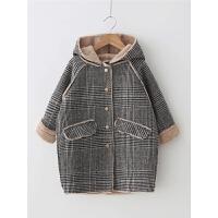 女童呢大衣秋冬季女宝宝格子大衣儿童毛呢呢子外套童装呢大衣洋气