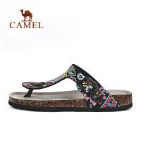 camel骆驼户外女款人字拖 缓震舒适时尚印花沙滩拖鞋女士