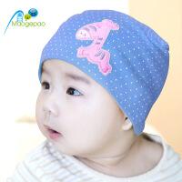 韩版新生儿童婴幼儿帽子宝宝春秋冬季套头棉布帽造型童帽