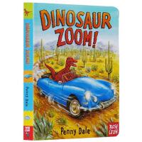 Dinosaur Zoom 英文原版 恐龙冲锋队 绘本纸板书 Penny Dale 潘妮・黛尔 超级恐龙系列 儿童交通