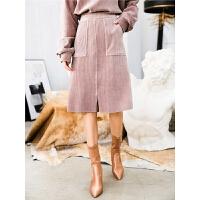 灯芯绒包臀裙高腰秋装女新款一步裙修身显瘦a字中长款半身裙