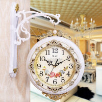两面挂钟 天蓝迈尔双面挂钟客厅时钟静音欧式创意双面钟表两面壁钟石英钟挂表 16英寸(直径40.5厘米)