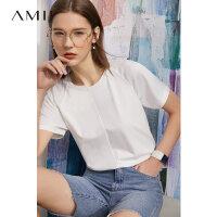 Amii极简撞料拼接白色短袖T恤女2021夏季新款宽松休闲圆领上衣潮