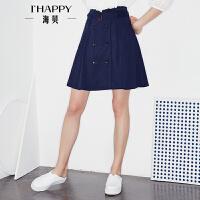 海贝2017秋季新款女装半身裙简约双排扣系带收腰高腰A字中裙