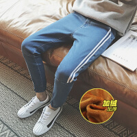 千帅 新款加绒牛仔裤男士修身小脚裤韩版潮流休闲青年黑色男裤子长DJ-A122