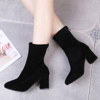 靴子女学生韩版短靴女粗跟秋冬新款高跟鞋女尖头中筒弹力袜子靴女