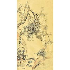 河南美术家协会会员许鲁四尺整张花鸟画  gh03376