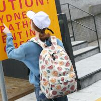2018新款季双肩包女韩版印花书包大容量休闲女生背包简约水果图案旅行包 米白色(水果柠檬)