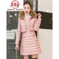2018冬装新款时尚女装反季矮个子羽绒修身显瘦棉衣两件套装裙