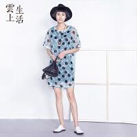 云上生活 夏装波点欧根纱短袖连衣裙中裙L4339