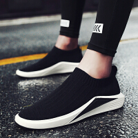 允鹿 帆布飞织袜子鞋男透气懒人鞋子韩版一脚蹬男鞋夏季老北京布鞋男潮