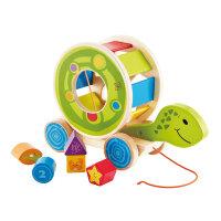 Hape乌龟拖拉1-6岁益智早教童车轮滑拖拉学步车儿童玩具婴幼玩具木制玩具E8038