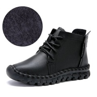 新款秋冬季平底短靴女防滑软底孕妇鞋加绒马丁靴舒适妈妈棉鞋 黑色 厚绒