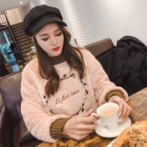 卡茗语秋冬韩版双面绒刺绣卫衣文艺气质花朵刺绣字母套头圆领长袖卫衣女