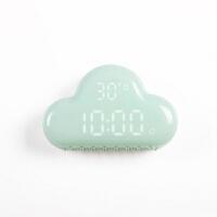 静音床头夜光电子钟LED智能闹钟云朵二代声控儿童小时钟创意学 云朵闹钟 薄荷绿+送USB线+双USB充电头 12厘米