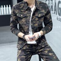 2018新品时尚迷彩男一套青年秋冬韩版修身牛仔套装男夹克外套休闲迷彩套装 迷彩套装
