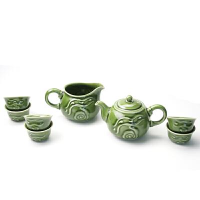 乾唐轩活瓷茶具行云流水1壶6杯带茶海养生功夫茶具茶壶茶海茶杯礼盒套装